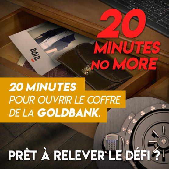 """Visuel scénario escape game """"20 minutes no more"""""""