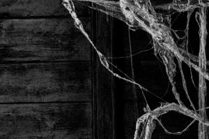 eerie spiderweb hands in the door frame of an old house