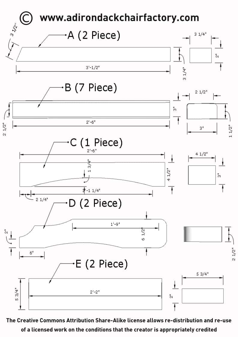 adirondack chair plan dimensions