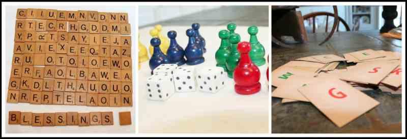 vintage game pieces collage