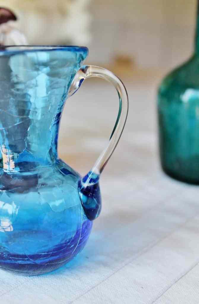 vintage blue crackle glass close up of handle