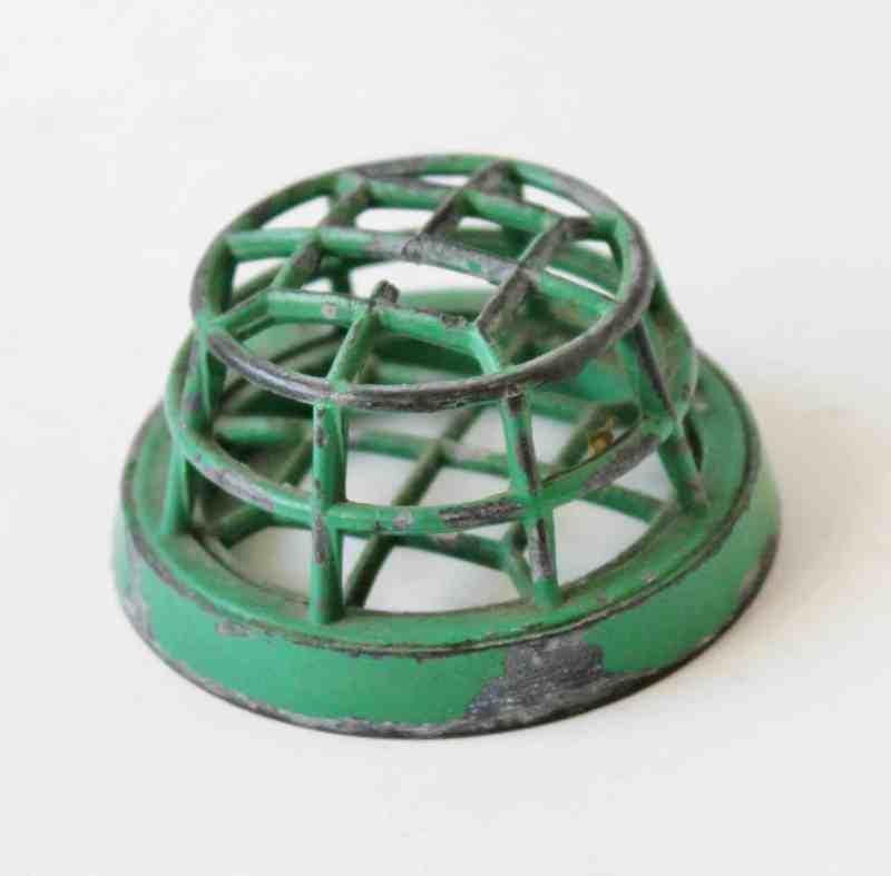 green vintage cage flower frog