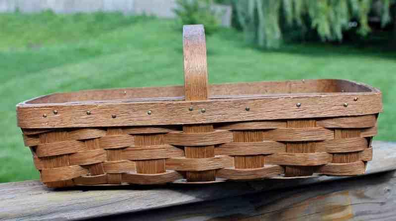 vintage oak splint gathering basket