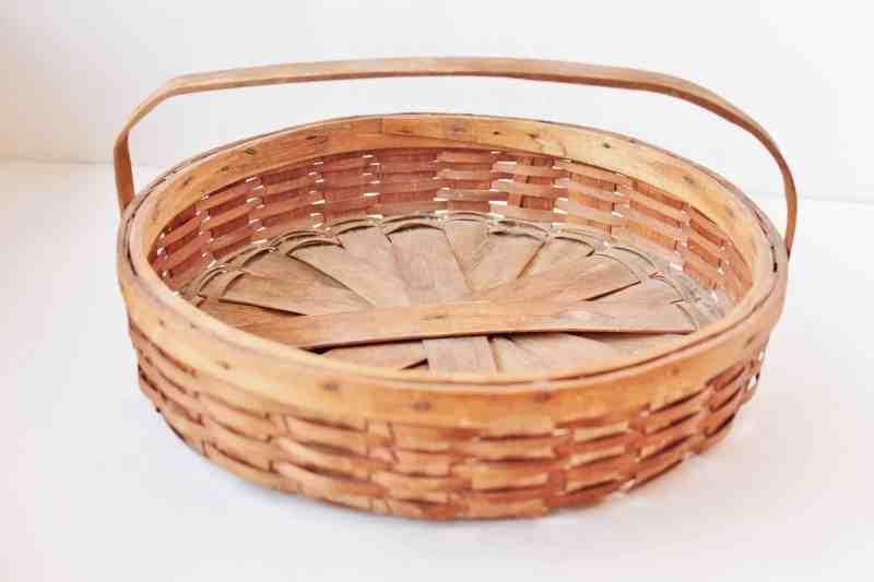 vintage oak splint pie basket