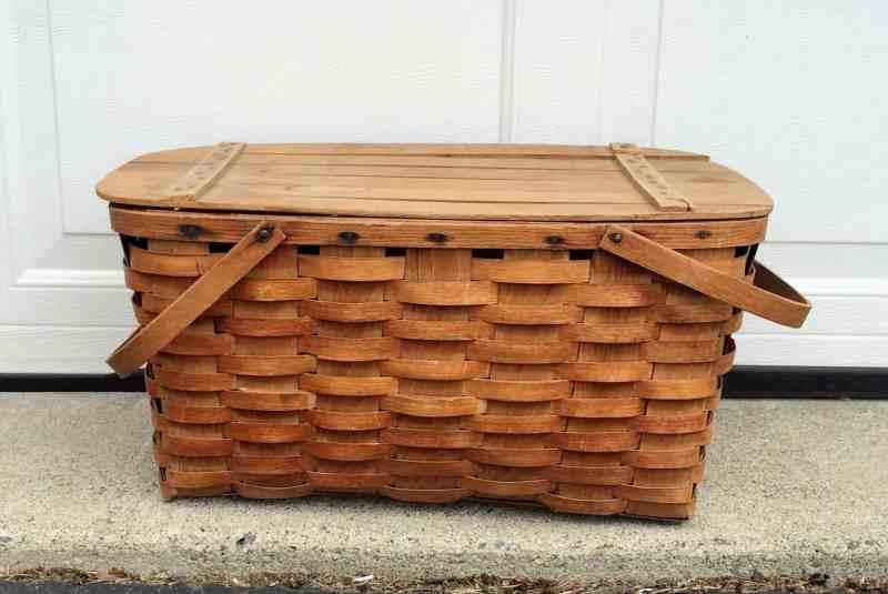 vintage oak splint picnic basket