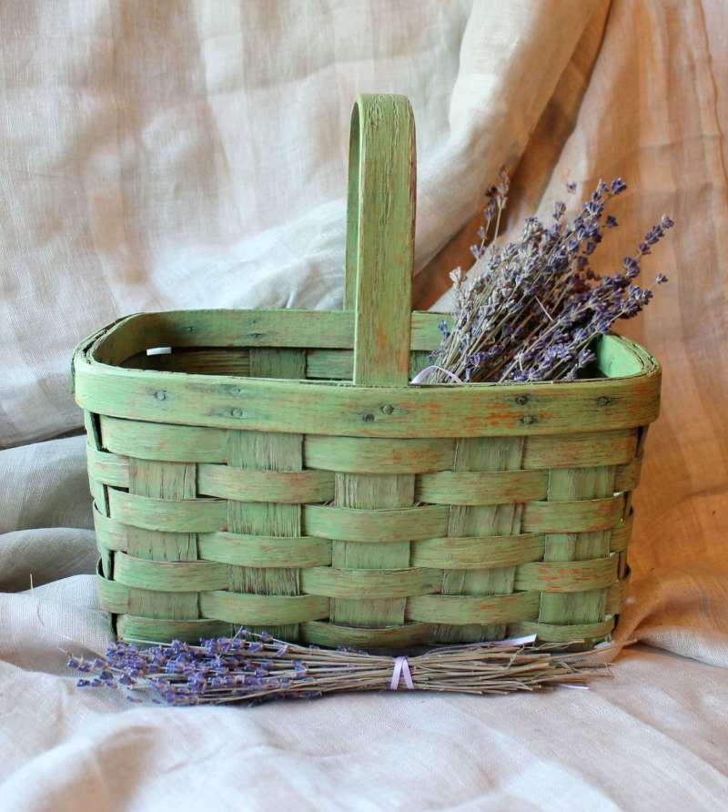 painted green basket with lavendar