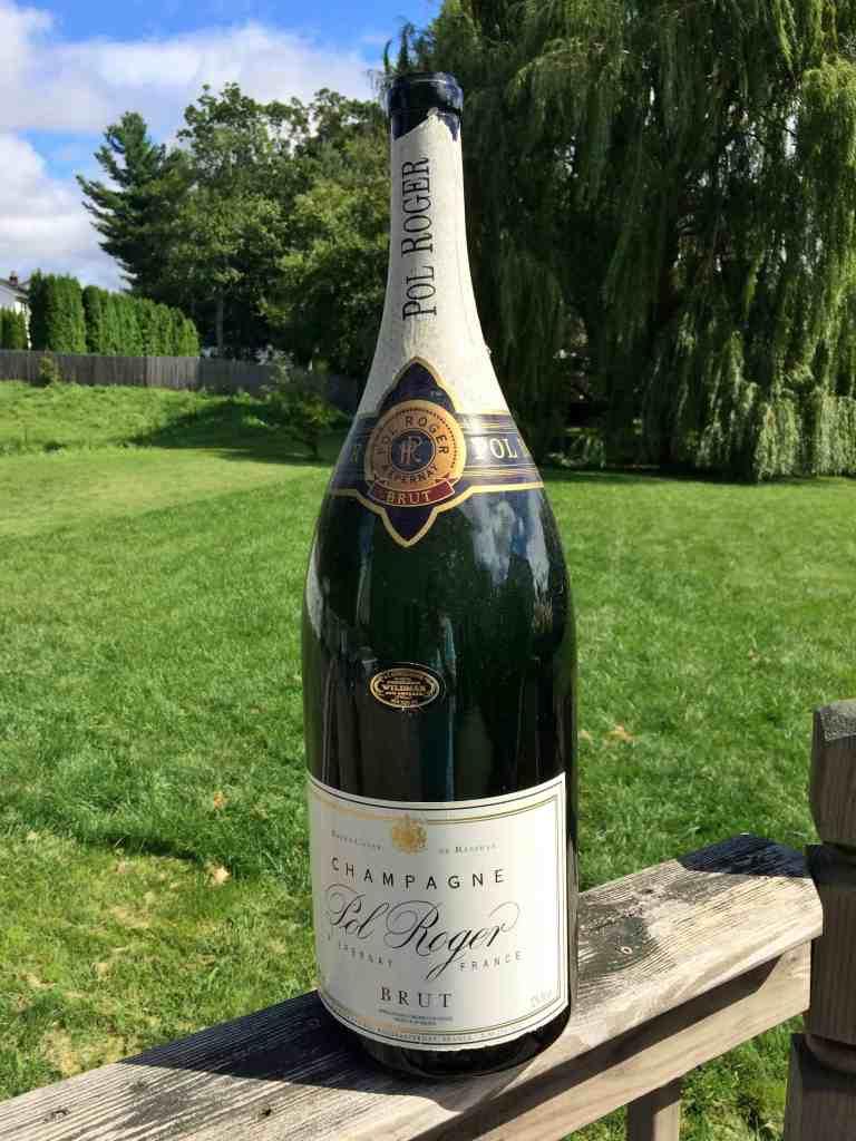 oversized champagne bottle