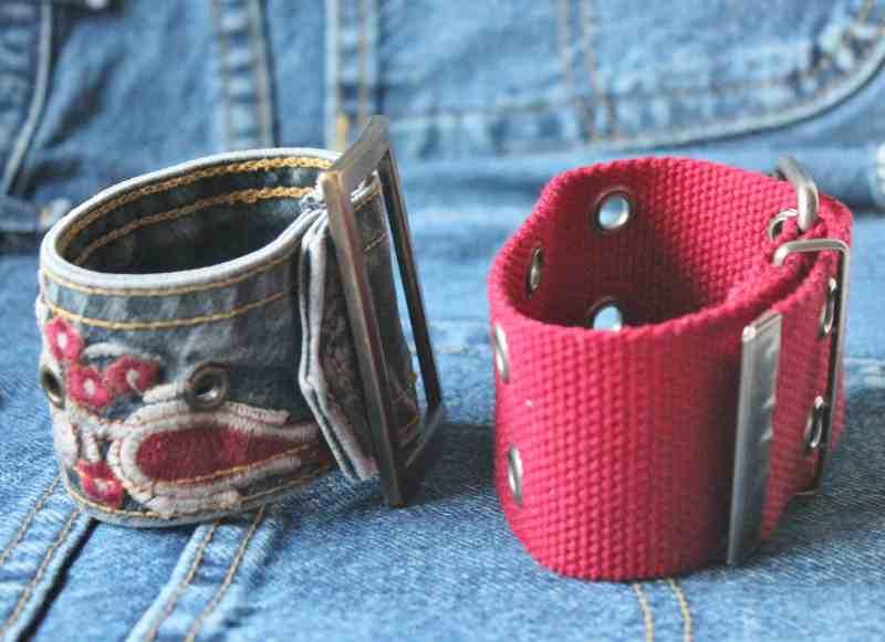 side view of vintage belt bracelets