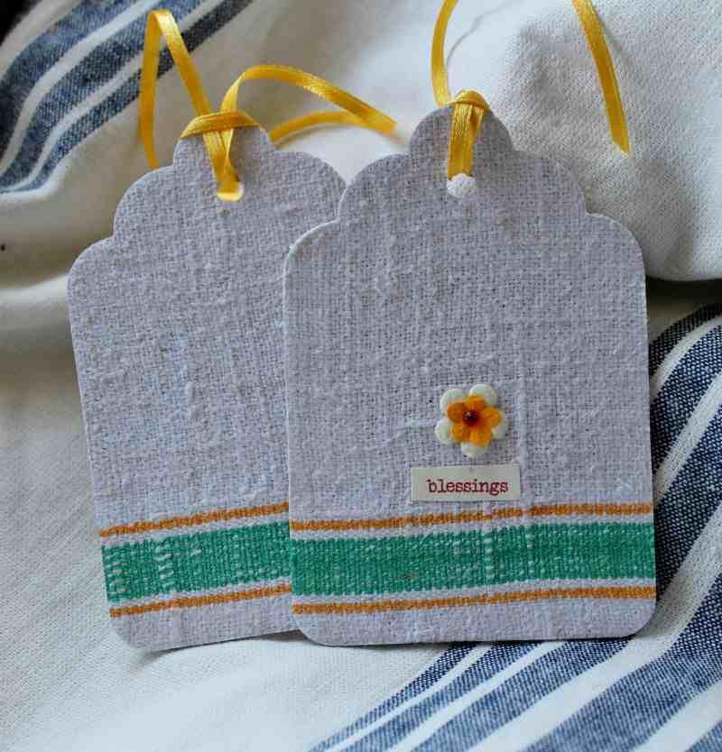 embellished vintage linen tag