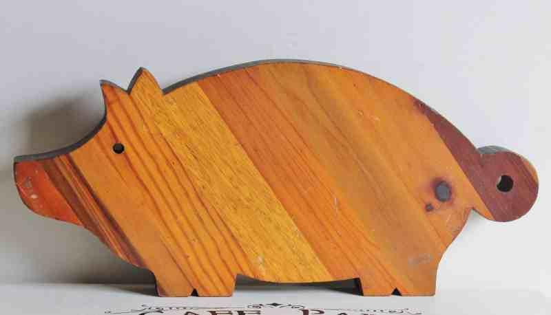 vintage wooden pig
