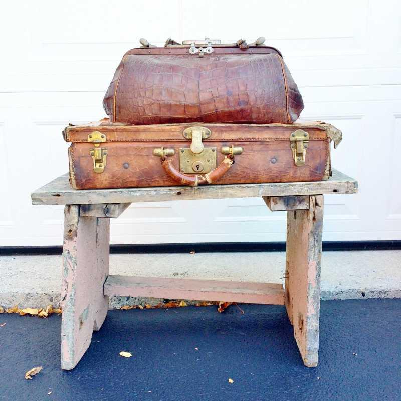 vintage alligator bag, brief case, stool