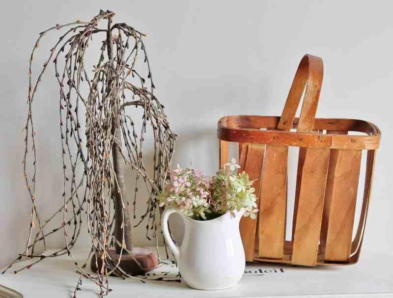 vintage basket and weeping tree
