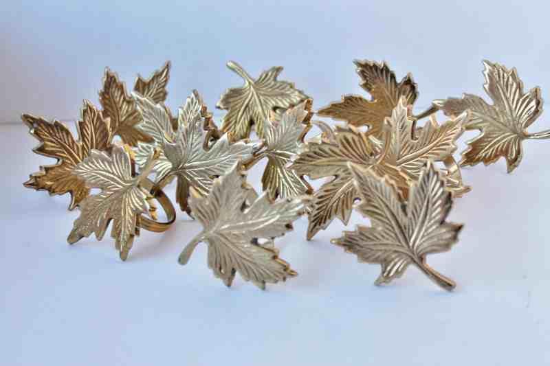 Brass Maple Leaf napkin rings