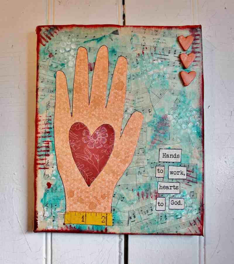 Mixed Media Heart in Hand