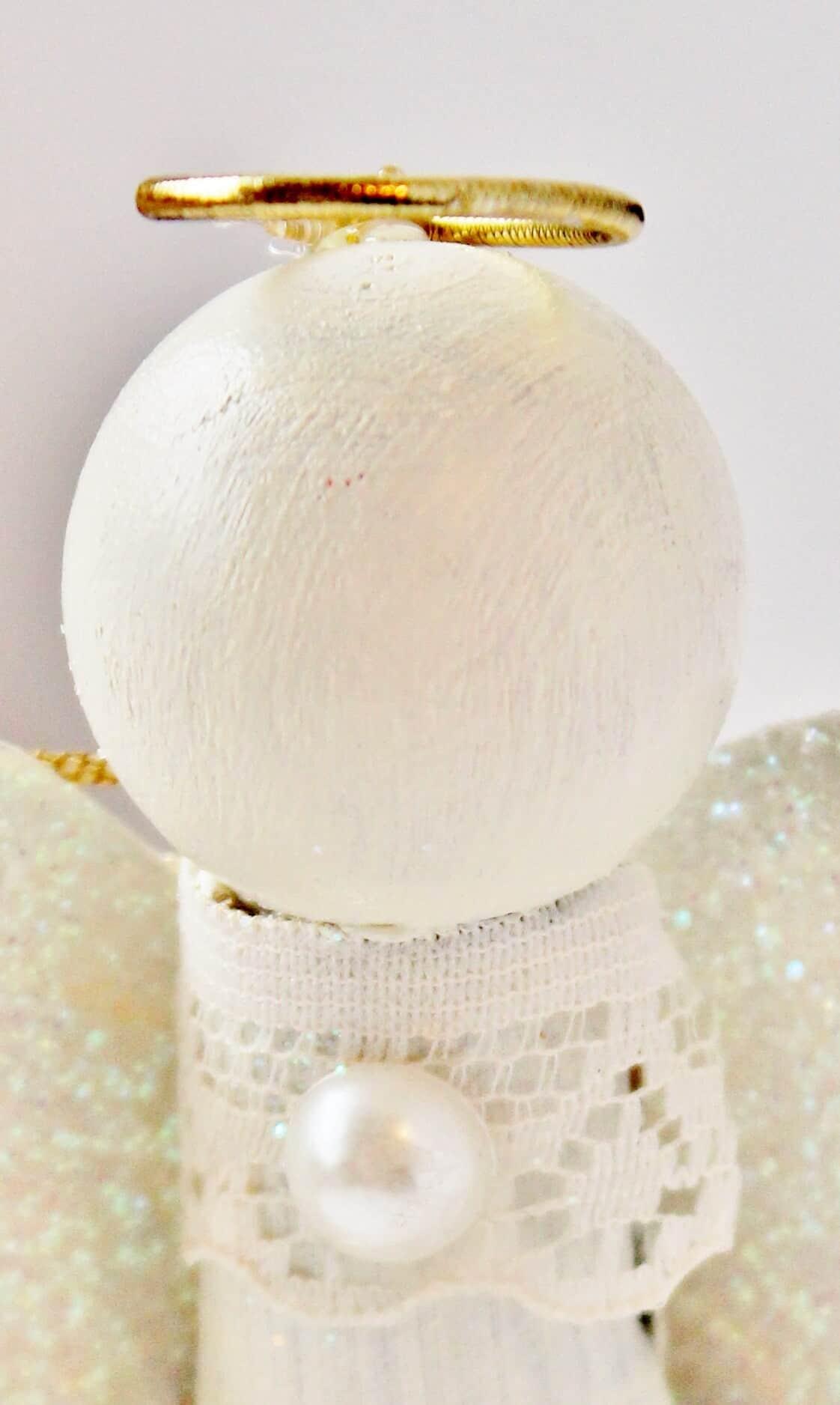 head of toilet paper tube angel ornament