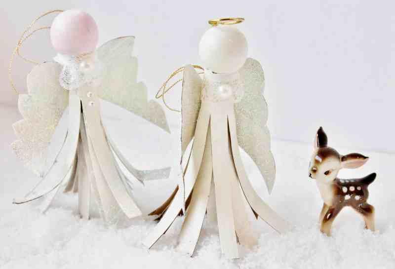 pair of toilet paper tube angel ornaments
