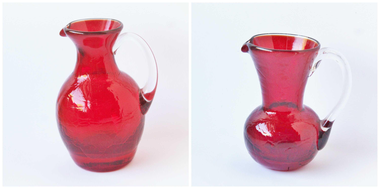 Pair of beautiful vintage ruby red crackle vase vases/pitchers