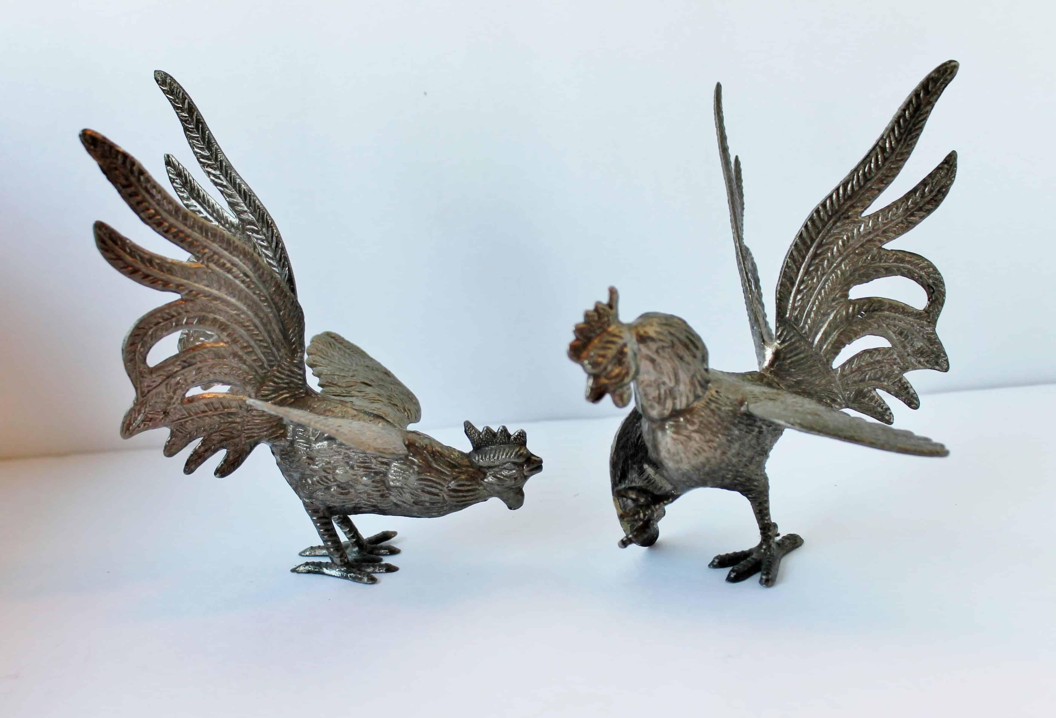 Vintage English Metal Roosters