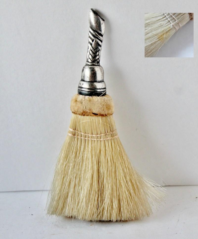 Vintage Hand Broom, Whisk Silver Handle with velvet trim