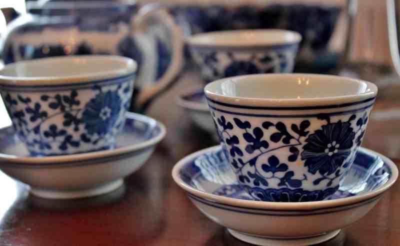 Blue and White china at Lasell Hall