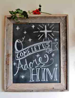 Hand lettered Christmas Chalkboard