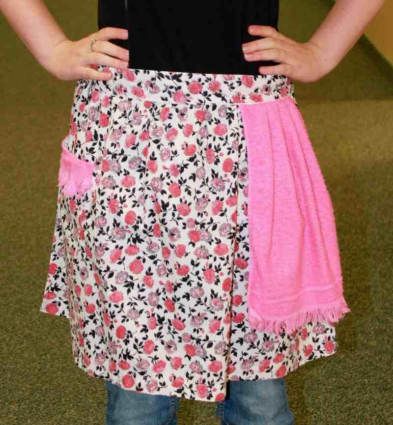 Vintage pink calico apron