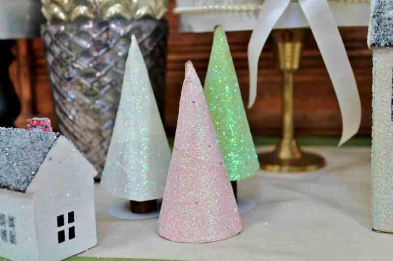 White, green, pink toilet paper tube glittery Christmas trees