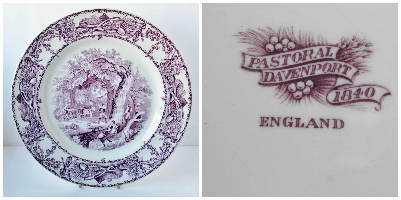Pastoral Davenport Purple Transferware Dinner Plate