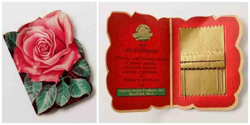 vintage rose needle book