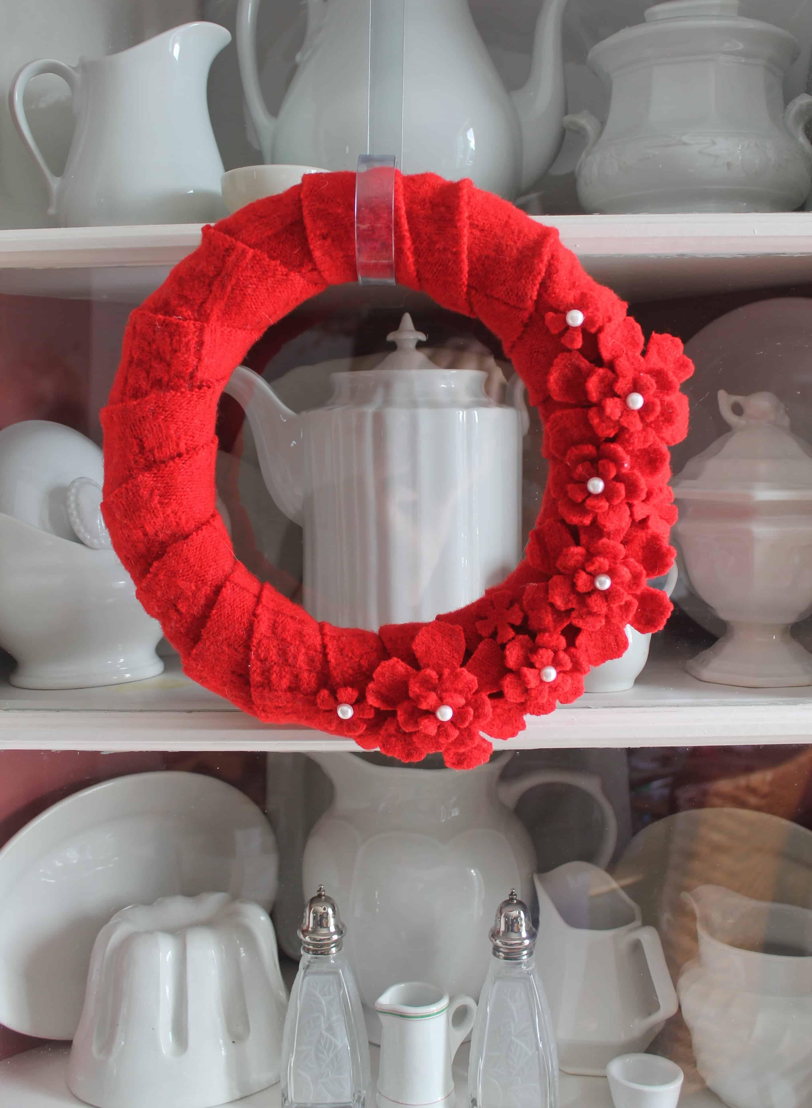 Vintage Valentine's Wool Sweater Wreath