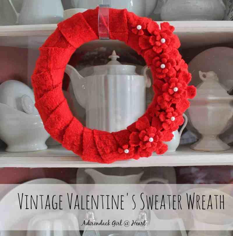 Vintage Valentine's Sweater Wreath adirondackgirlatheart.com