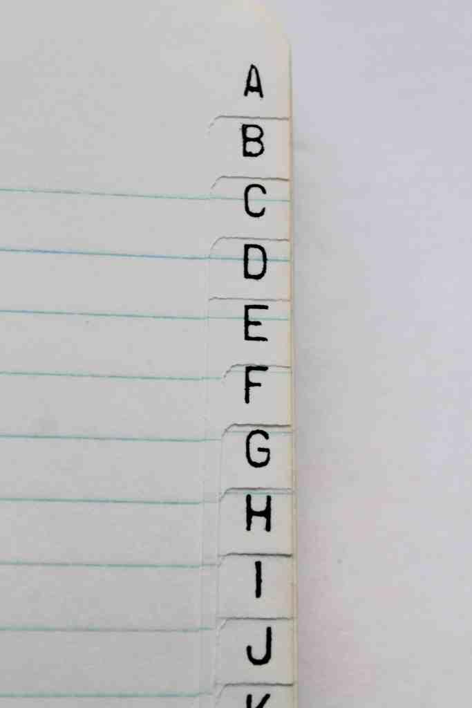 Alphabet index in vintage address book