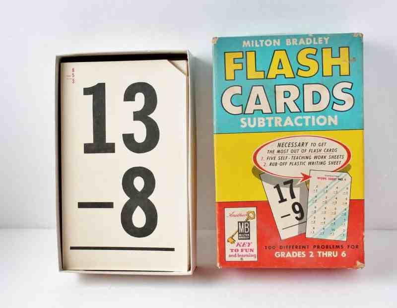 Vintage subtraction flash cards