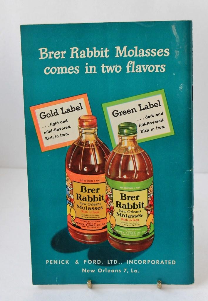 Back of Vintage 1930s Brer Rabbit Molasses Cooking Pamphlet