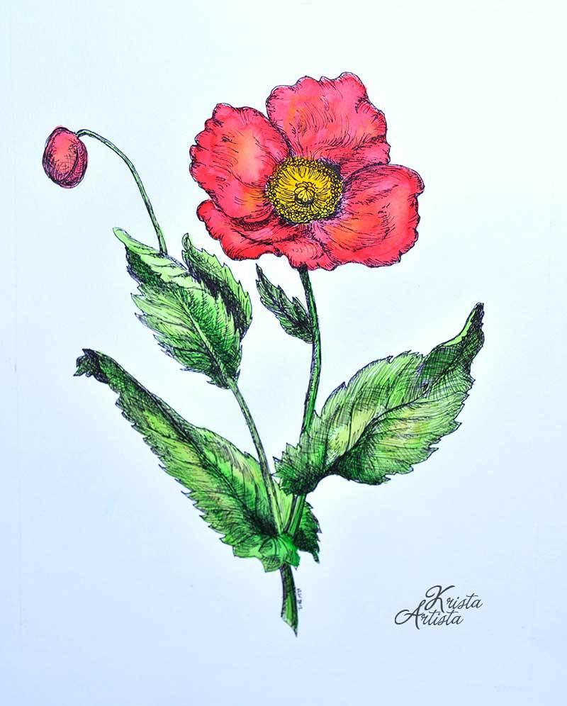 Handmade Botanical Painting at Krista Artista