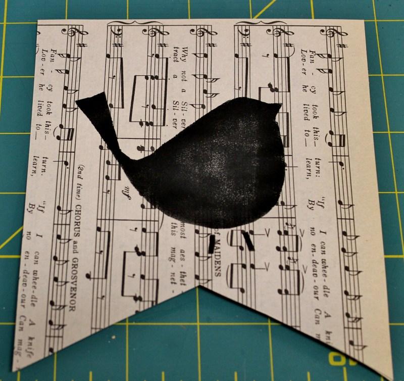 Bird Stencil on Vintage Music Paper
