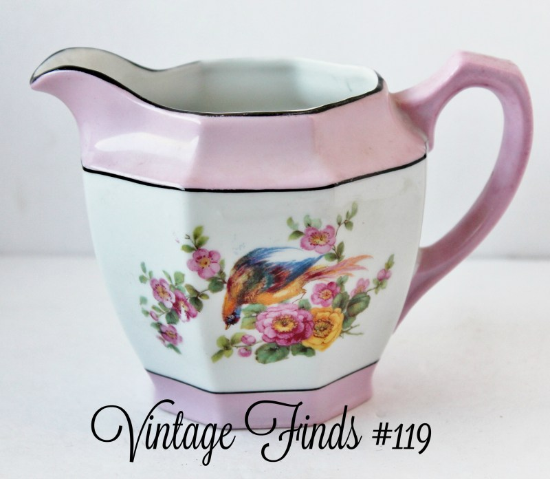 vintage china creamer with bird and flowers