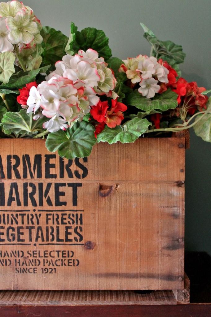 Vintage Farmer's Market Stencil on Vintage Crate