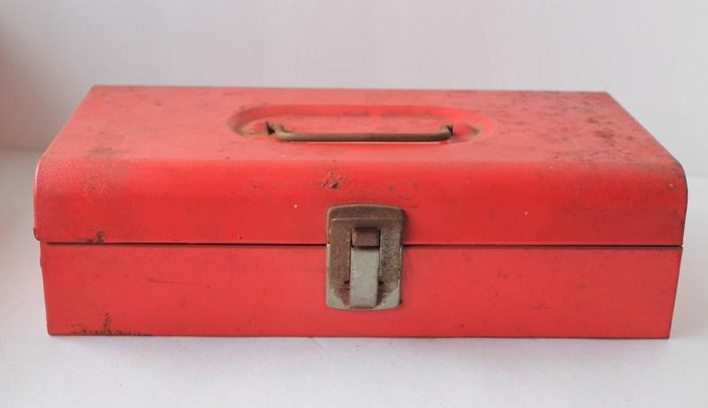 Vintage Red Metal Toolbox