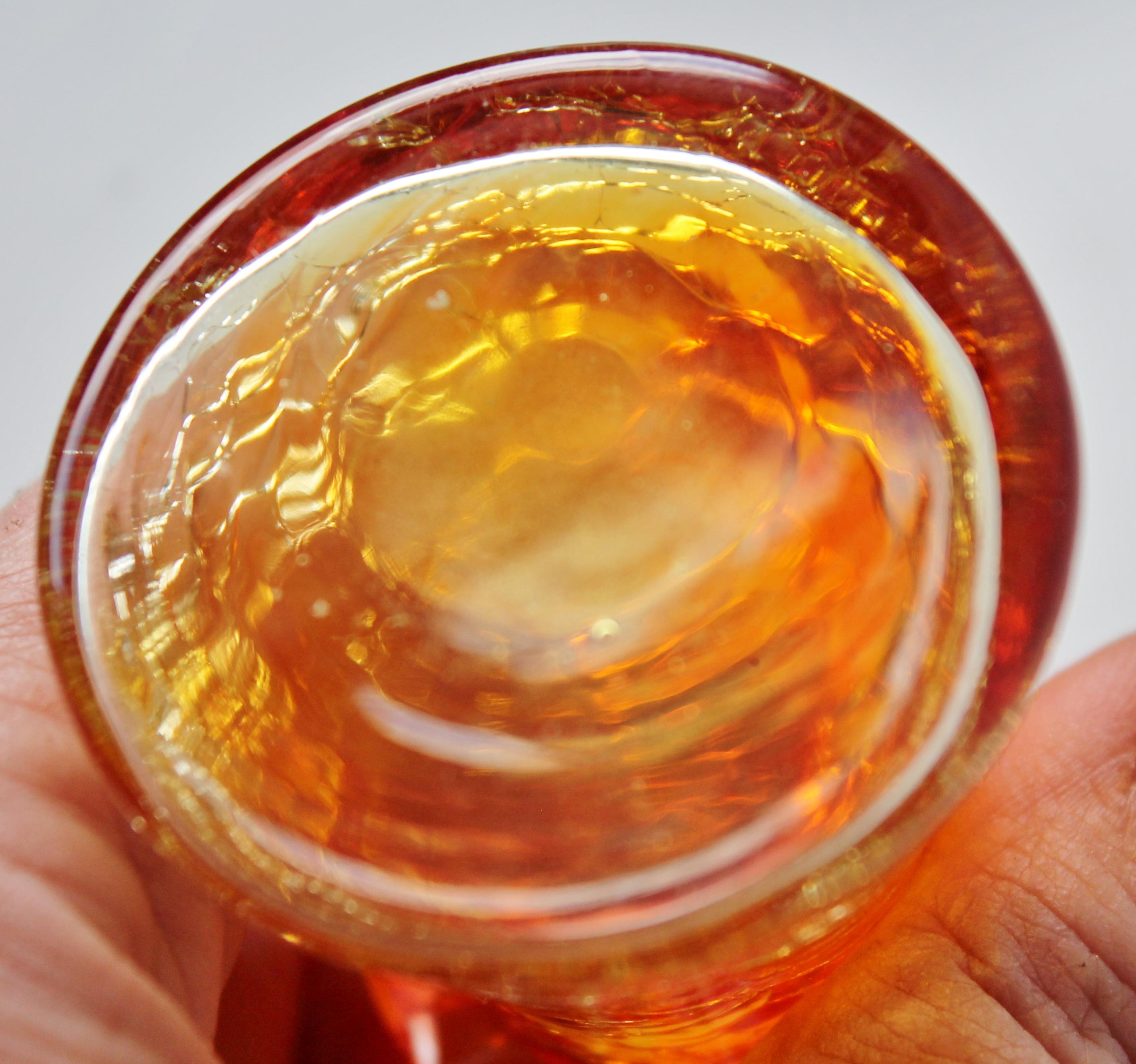 Bottom of Vintage Amberina Crackle Glass Vase