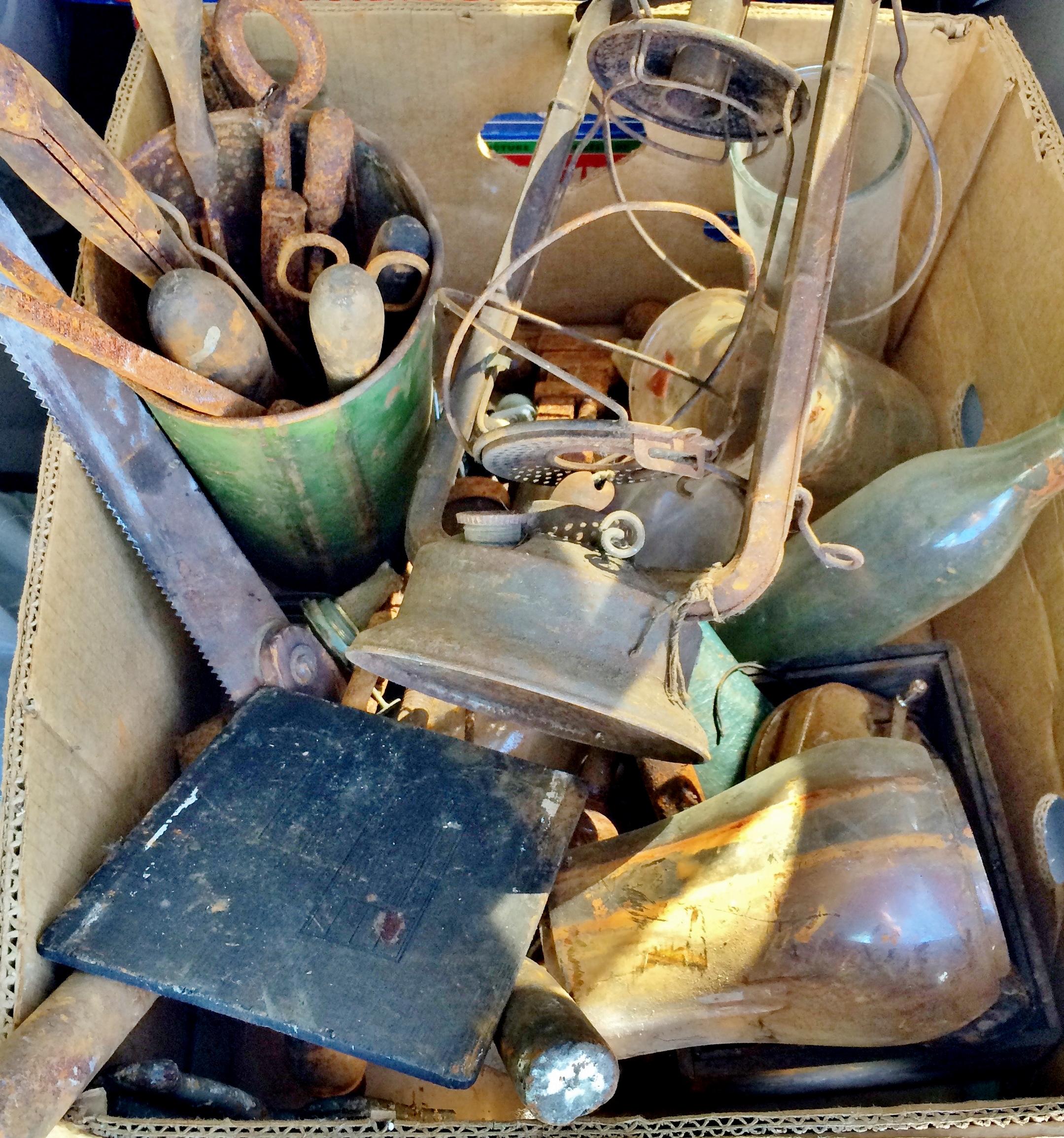 Box of rusty vintage junk