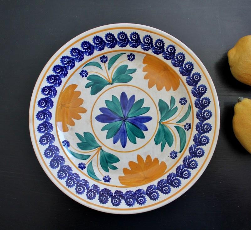 Antique Dutch sponge spatterware dinner plate