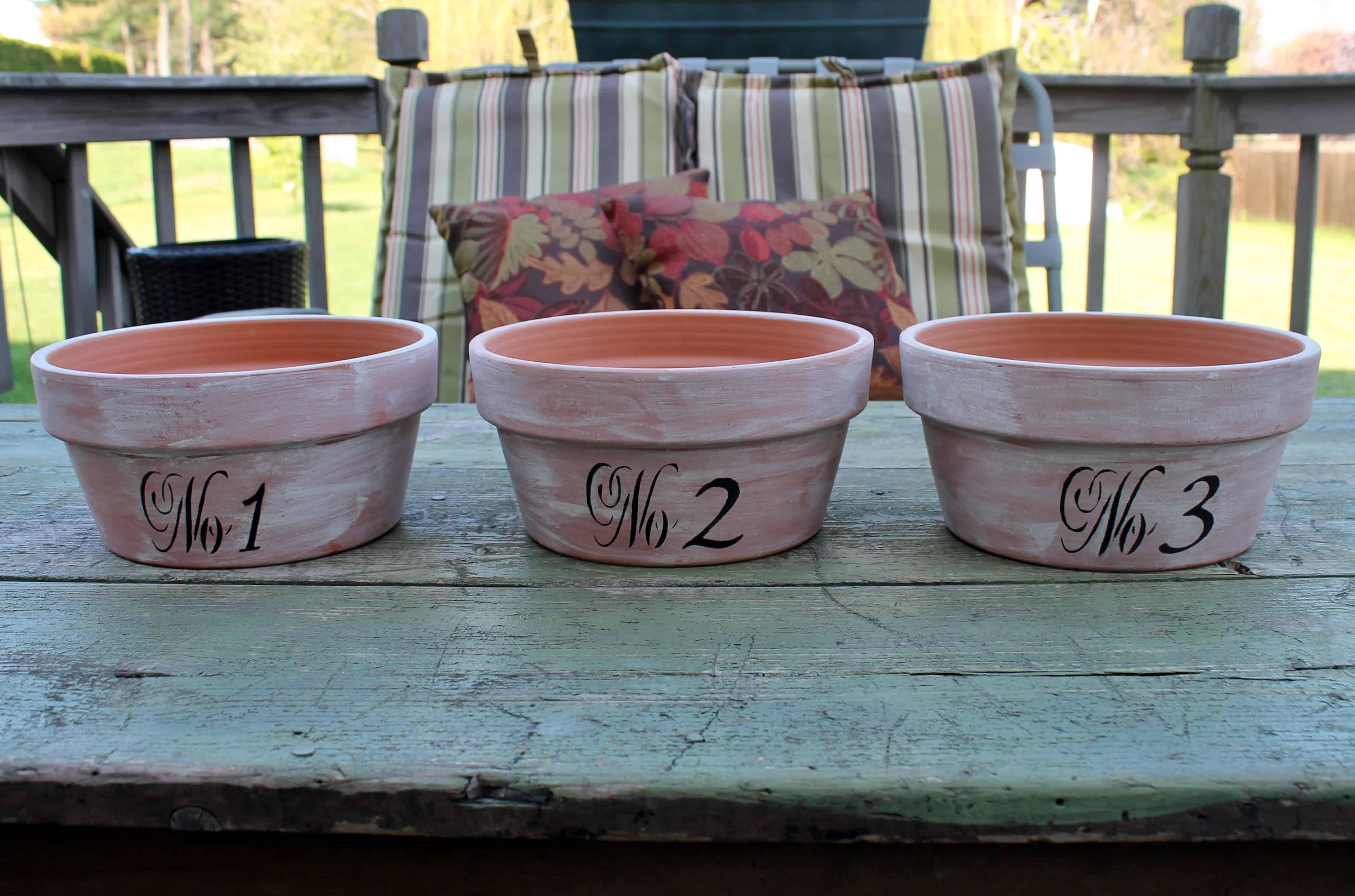 3 Aged Terra Cotta Pots