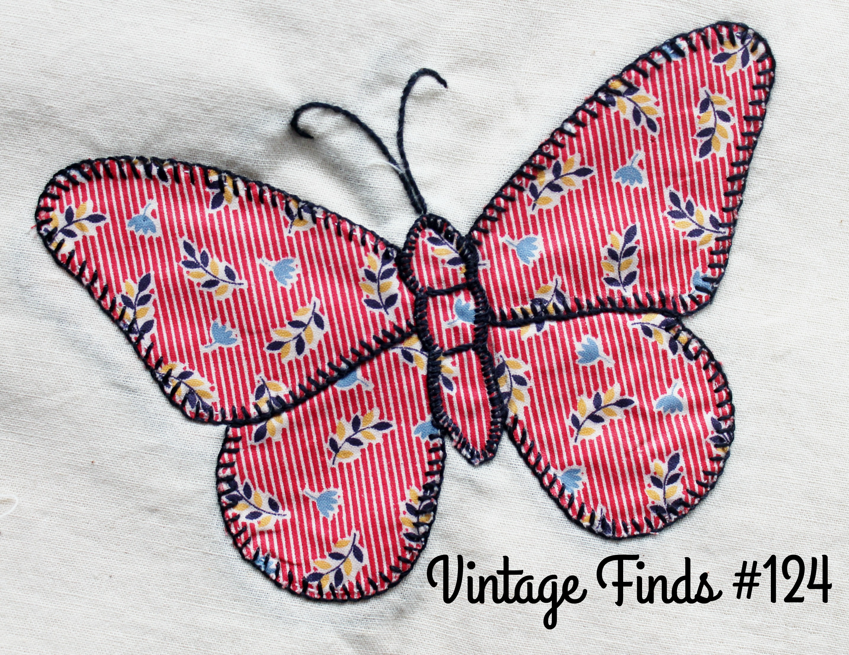 Vintage Feed Sack Butterfly