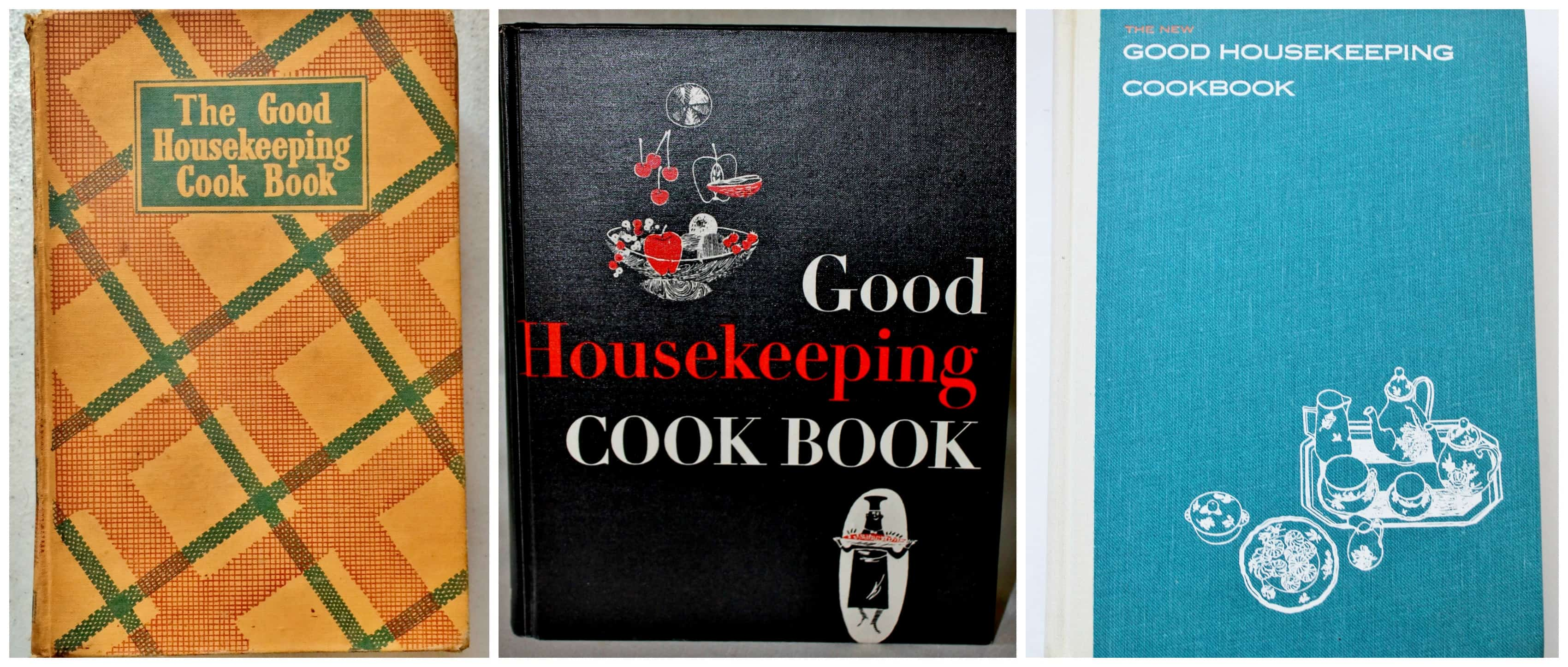 Set of three good housekeeping cookbooks from different eras