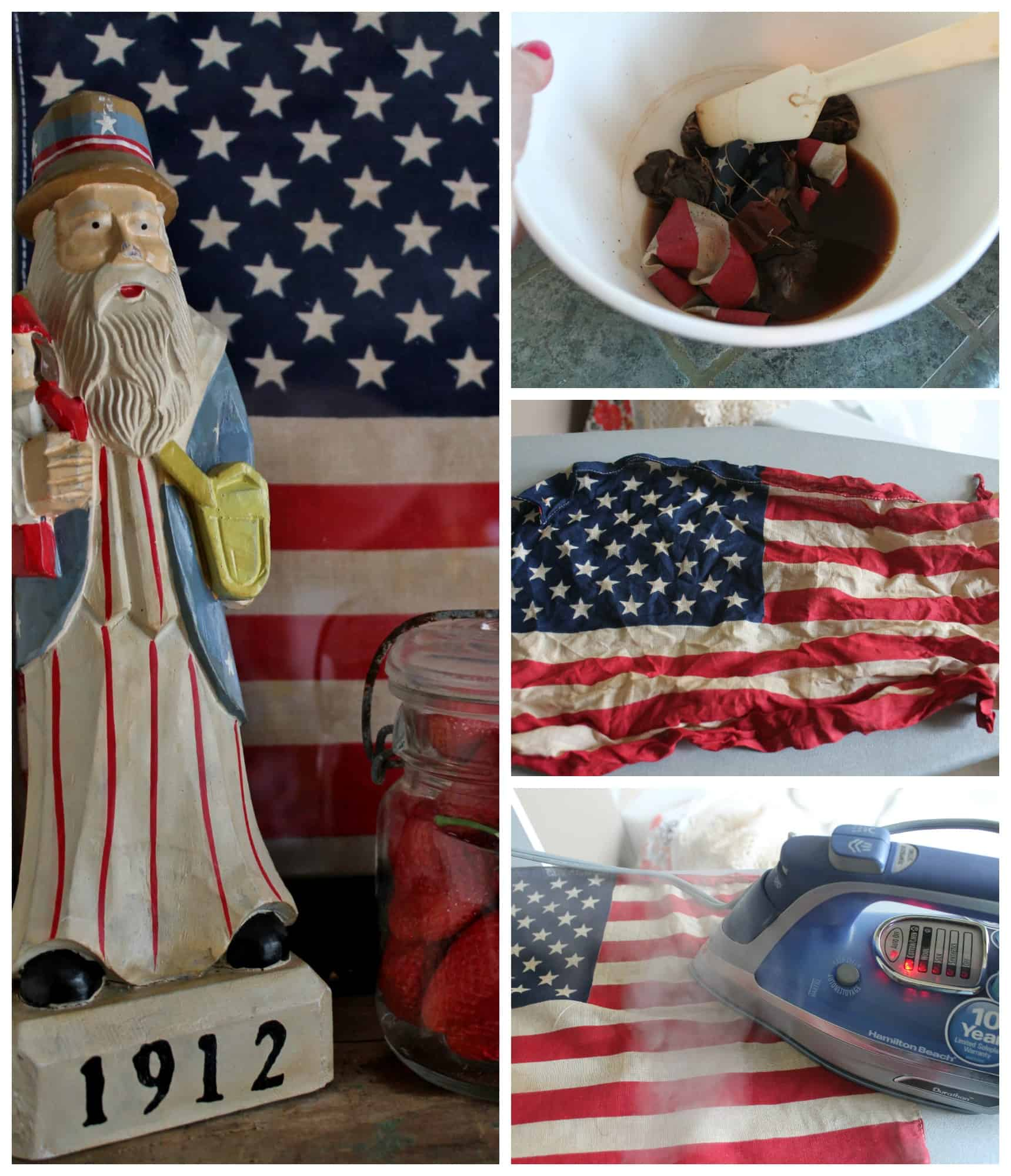 Patriotic Wall Art Framing Vintage Flags Collage by Adirondack Girl @ Heart