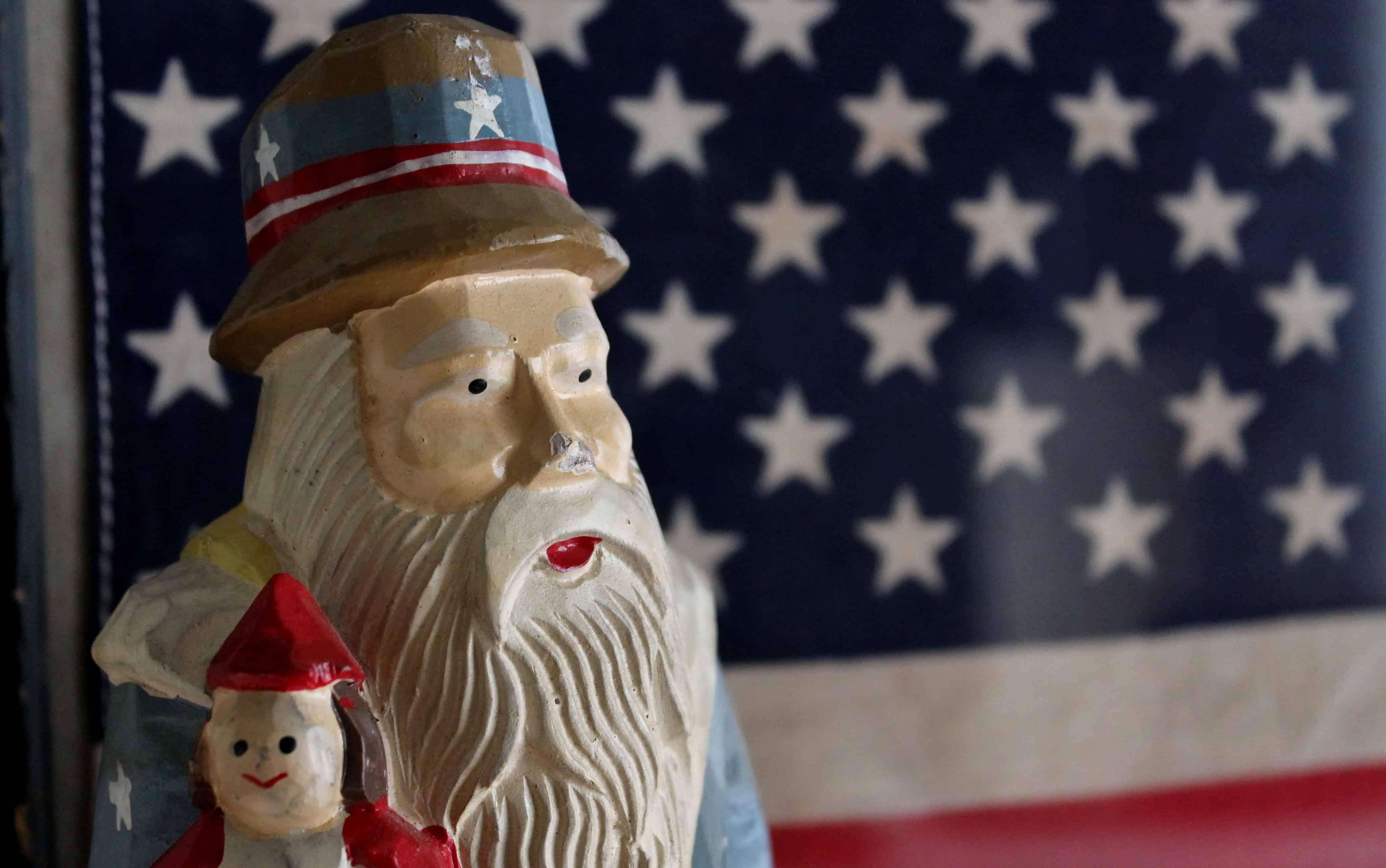 Uncle Sam's head with framed vintage flag