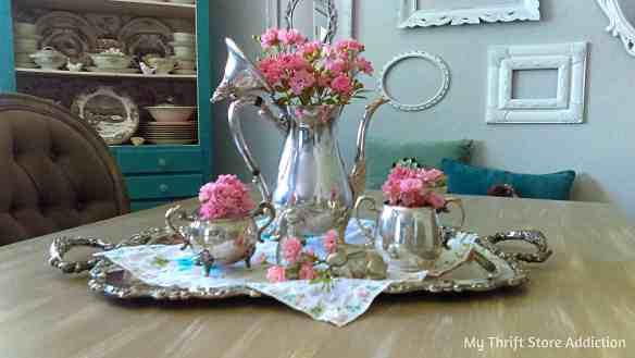 Vintage silver tea set with roses Cecilia's #34