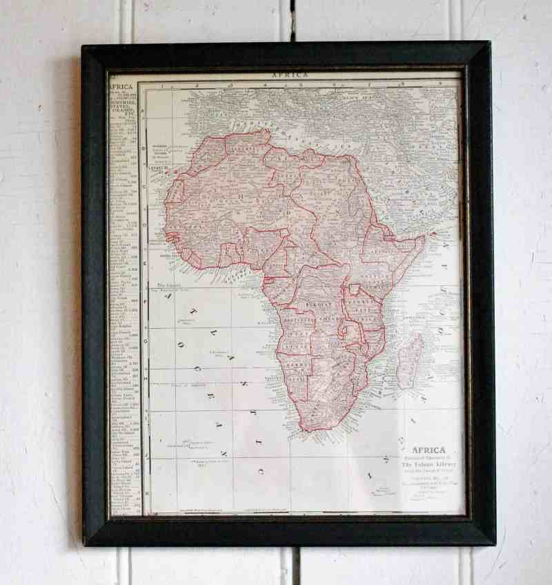 framed atlas map of Africa