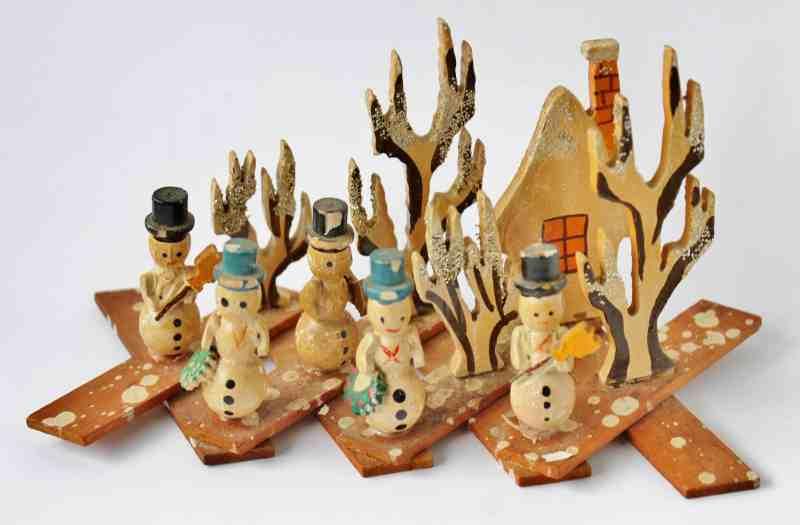 Vintage Japanese Accordian Snowman Village (1)